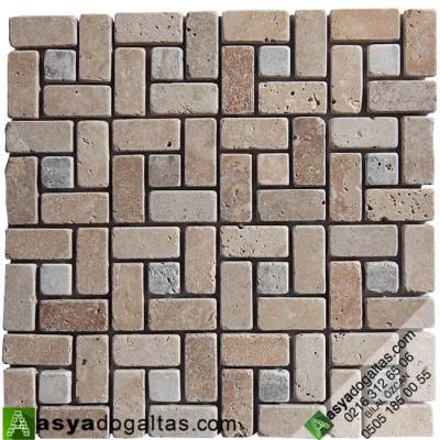 Fileli Traverten Mermer Mozaik -AT1190
