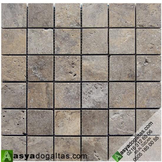 5×5 Gümüş Traverten Tezgah Arası Mozaik – AT1407