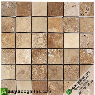 5×5 Fileli Cilalı Traverten Mozaikler -AT1016