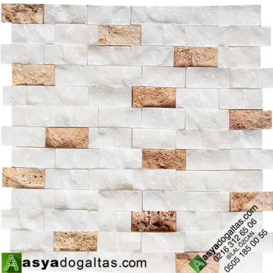 Beyaz Fon Sarı Dogal Tas Patlatma Duvar Tasları - AT1169