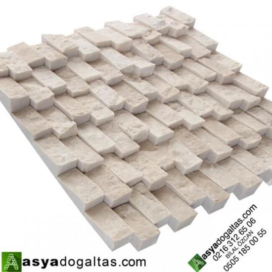 2.3×4.8cm Dikey Bej Mermer Yalı Baskısı Doğaltaş Patlatma Duvar Kaplama-AT1369