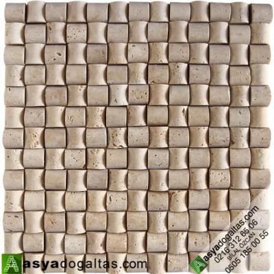 23×23 Doğal Taş Hasır Mozaik Şeker Traverten – AT1330