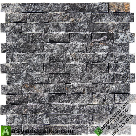 2.3×4.8cm Akşehir Siyah Mermer Patlatma Doğal Taş - AT1251