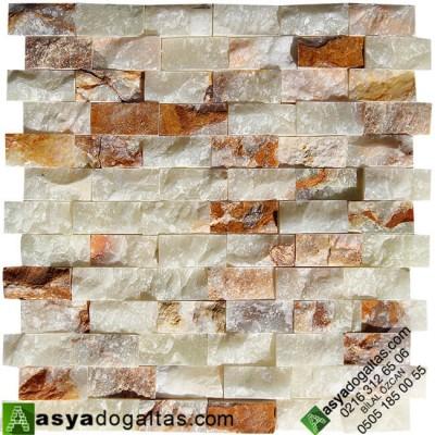 2.3×4.8cm Yeşil Onix Doğal Taş Patlatma Duvar Kaplama-AT1264