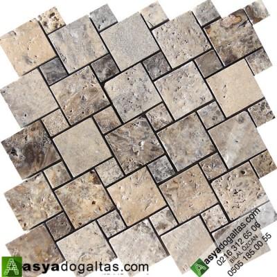 Mix Gümüş Traverten Mutfak Tezgah Arası Doğal Taş Mozaik -AT1415