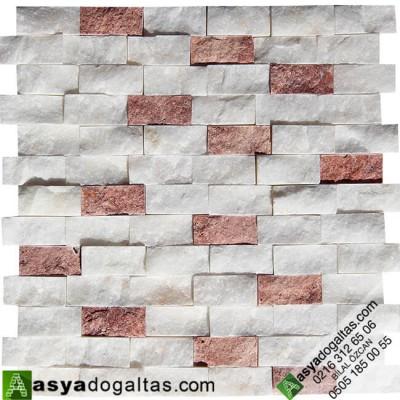 2.3×4.8cm Beyaz Fon Kırmızı Traverten Mix Patlatma – AT1162