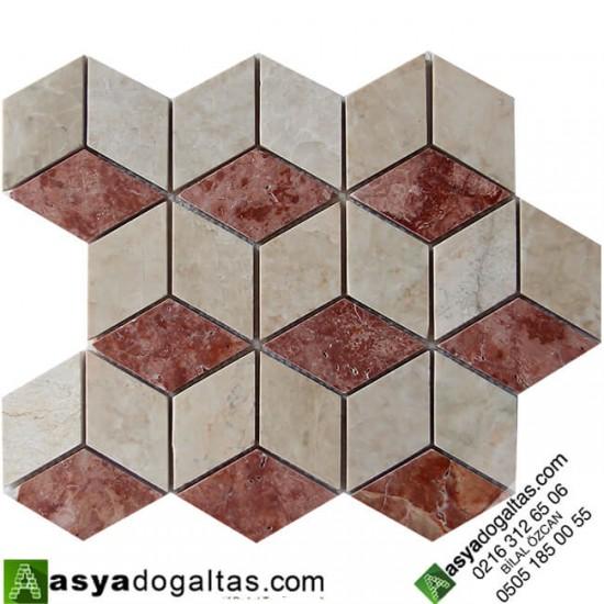 3D Mutfak Tezgah Arası Mermer Mozaik -AT1405