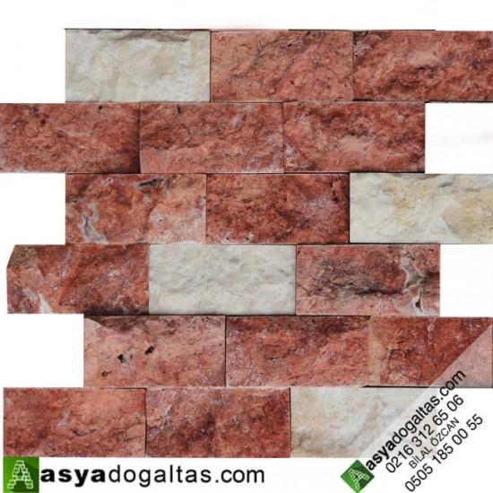 5×10 Kırmızı Traverten Bej Traverten Mix Patlatma - AT1171