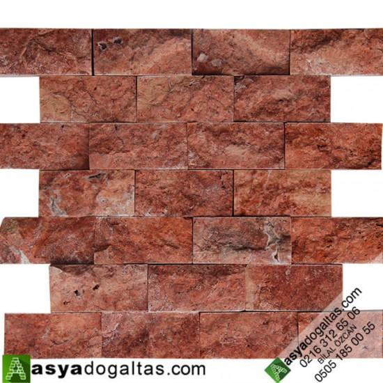 5×10 Kırmızı Traverten Patlatma Duvar Kaplama Taşları - AT1172