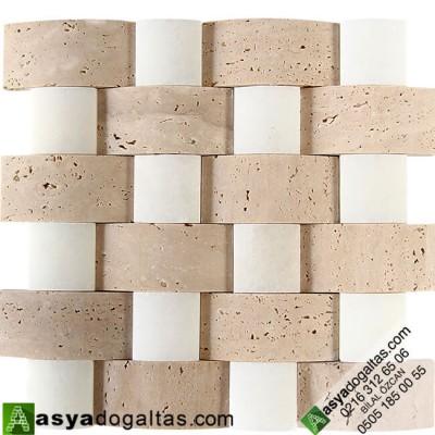 5×10 Traverten-Uşak Mix Doğaltaş Hasır Mozaik - AT1262