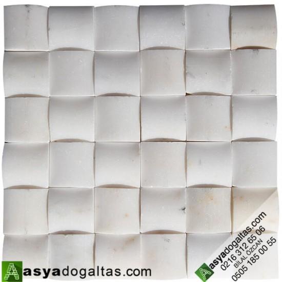5×5 Afyon Beyaz Mermer Hasır Mozaik - AT1261