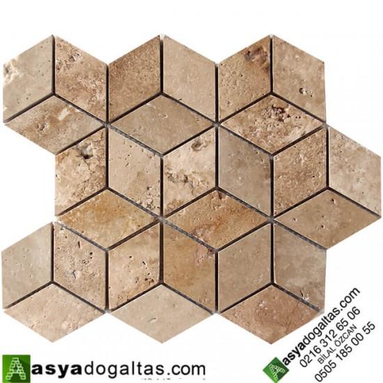 3D Mutfak Tezgah Arası Traverten Fileli Derzli Mozaik Doğal Taş -AT1404