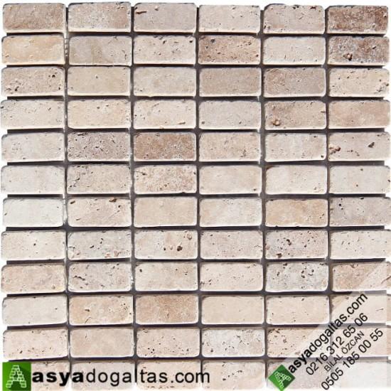 Eskitme Traverten Fileli Mozaik Doğal Taş -AT1263
