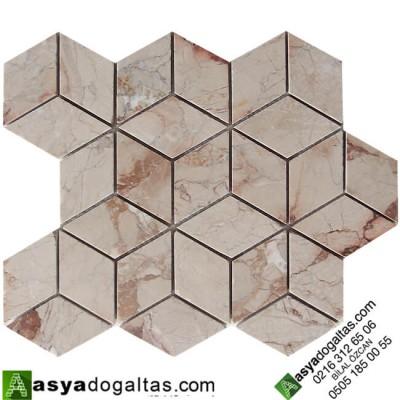 3D Bej Mermer Doğal Taş Duvar Mozaik-AT1425