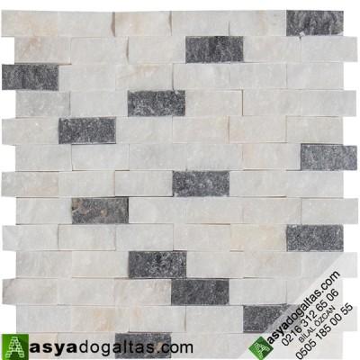 Beyaz Fon Simli Mix Duvar Kaplama Taşları - AT1207