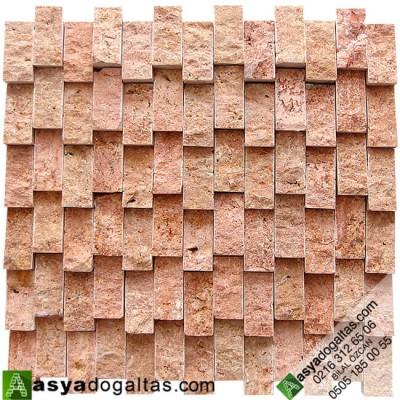2.3×4.8cm Dikey Duvar Dekor Taşları Kırmızı Traverten - AT1390