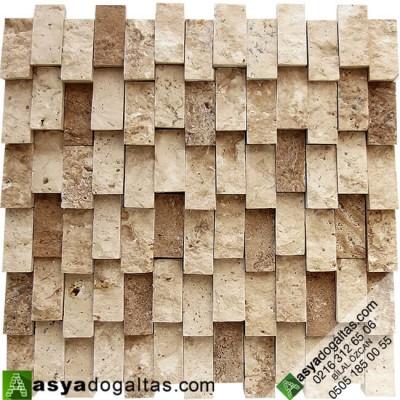 2.3×4.8cm Dikey Traverten Patlatma Taş Duvar - AT1076