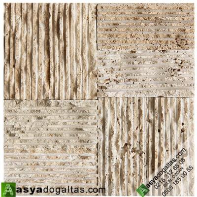 Taraklı 5×10 Gerçek Doğal Taş Traverten Tarama Çizikli - AT1337