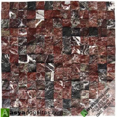 2.3×2.3cm 3D Elazığ Vişne Mermer Patlatma Doğal Taş - AT1420