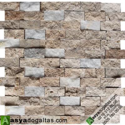 2.3×4.8cm Traverten Patlatma Duvar Kaplama Doğal Taş – AT1418